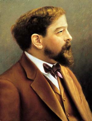 O óleo sobre tela colorido retrata, em primeiro plano e de perfil, o compositor francês Claude Debussy. Ele tem pele clara, cabelos crespos alourados, cavanhaque e bigodes. Usa terno com colete e gravata borboleta marrons sobre camisa branca.